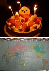 パンダケーキ(上)と世界地図ケーキ(下)