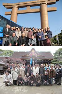 (写真上)岡山最上稲荷にて(写真下)北野天満宮梅ツアー