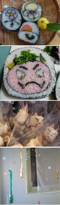 節分のお寿司(上・中)と注文してくださったお客様へのオマケのオニのお菓子。水のしずくのような、ガラス細工のような飴細工(最下段)